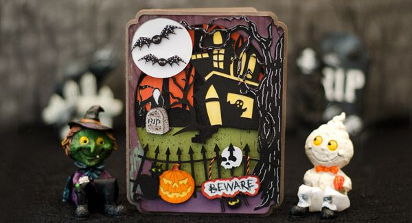 Fright Night Halloween Card svgcuts.com by Brigit Mann