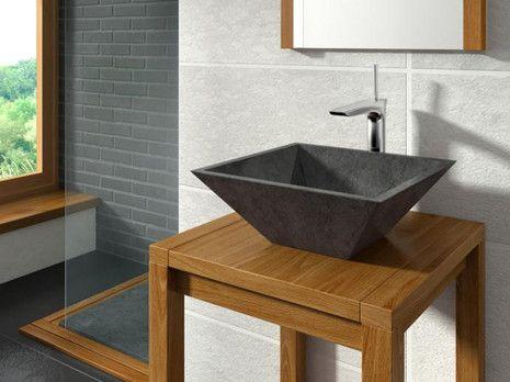 Sumatra Bathco Negro umywalka kamienna nablatowa - 00323  http://www.hansloren.pl/Umywalki-kamienne/598