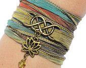 Infinity Silk Wrap Bracelet Lotus Flower Eternity Namaste Love Forever Anniversary Gift For Her Birthday Mothers Day Under 50 Item C26