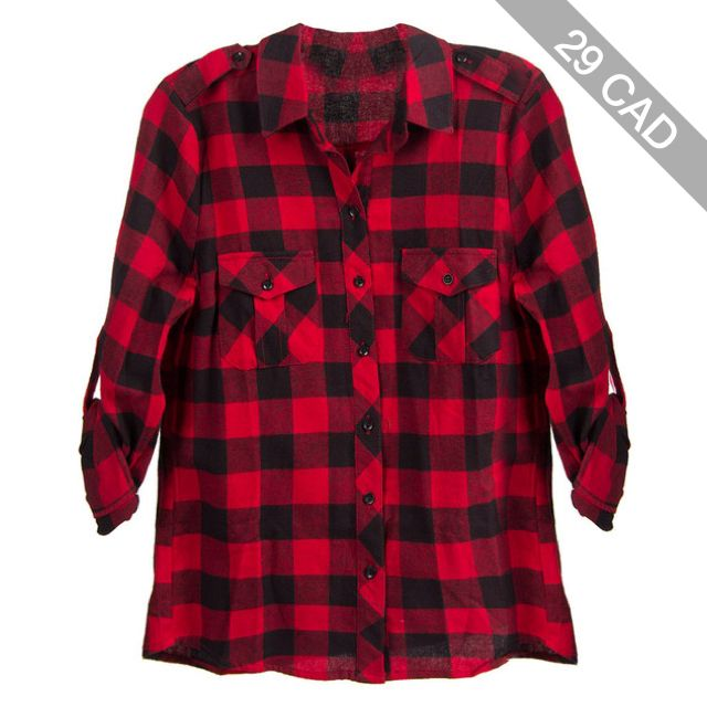 Red Plaid Flannel Top