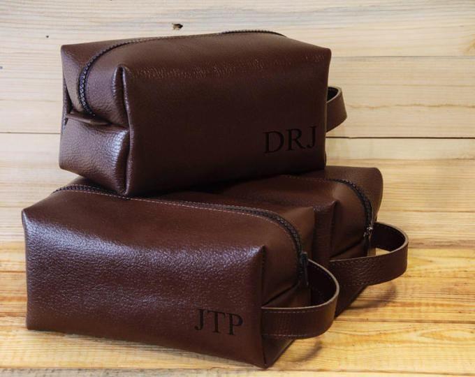 Lederen gepersonaliseerde Dopp Kit, lederen, Mens toilettas Mens Wash tas, Mens cosmetische zak, mannen reistas, scheren tas, bruin