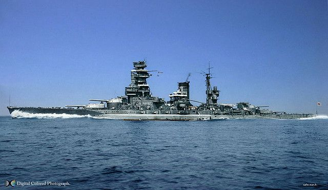 Both Nagato and Mutsu were given major reconstructions between 1934 and 1936, finally emerging in the form shown here. As already related, Mutsu was lost in 1943, but Nagato survived the war, probably the biggest surviving Japanese warship, and certainly the last battleship. she was ceded to the USA, and met her end as a target ship for the Bikini Atom bomb tests in 1946, in company with the USS Saratoga, the USS Nevada and the German heavy cruiser Prinz Eugen.