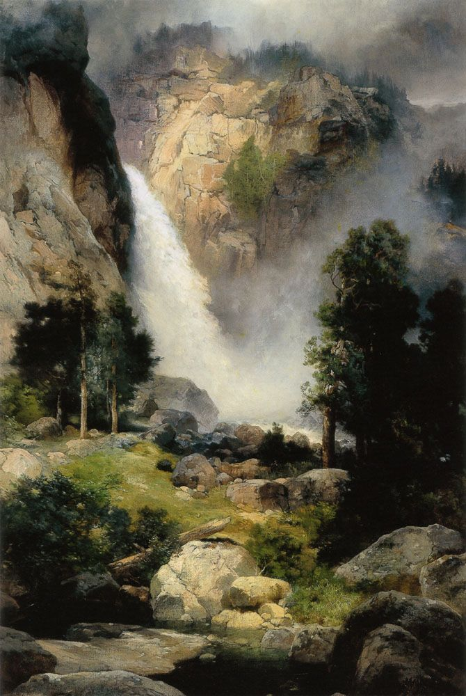 Thomas Moran . Cascade Falls, Yosemite .  oil on canvas
