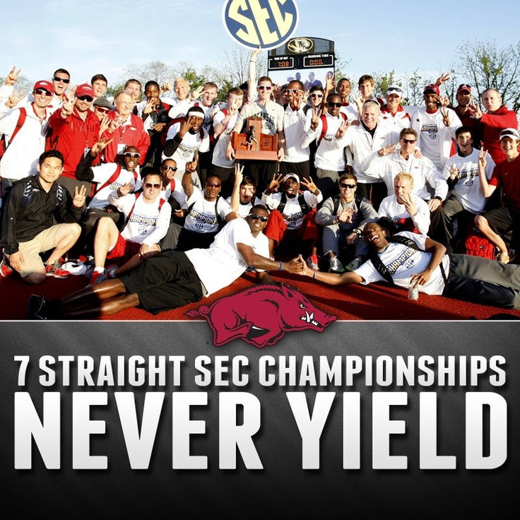 running its streak of consecutive overall league titles to seven, the No. 5 University of Arkansas men's track and field team won the 2013 SEC Outdoor Championships this weekend in Columbia, Mo. With the help of five SEC event titles—all won Sunday—the Razorbacks finished the meet with 152.5 points to complete the program's second-consecutive SEC Triple Crown. The win also marks the 18th SEC outdoor team title in program history, and third in a row for Arkansas. WPS! #razorbacksforever