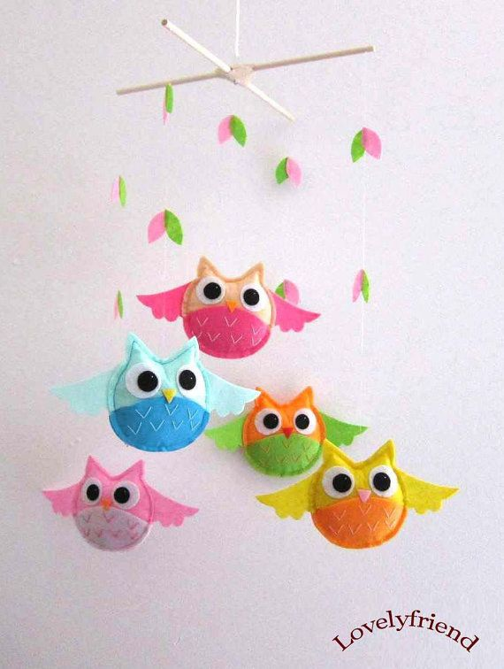 I adore this colorful owl mobile.  And you can choose your own colors too!