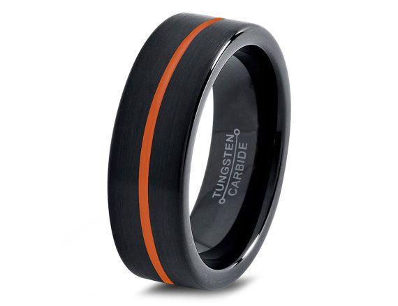Black Tungsten <b>Ring</b> Orange Men <b>Tungsten Rings</b> by GiftFlavors ...
