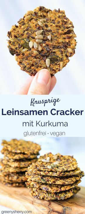 Glutenfreie Leinsamen-Cracker mit Kurkuma und Curry (vegan) lowcarb www.greenysherry.com(Vegan Curry)