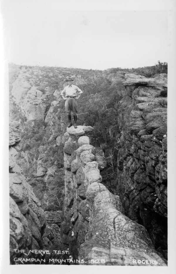 The Nerve Test, Wonderland Range, Grampians (1947). State Library of Victoria.