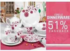 Corelle Dinner Sets Extra 51% Cashback
