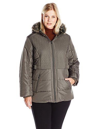 Details Women's Plus Size Puffer Coat with Braided Quilting Faux-Fur Trimmed Hood, Fog, 2X