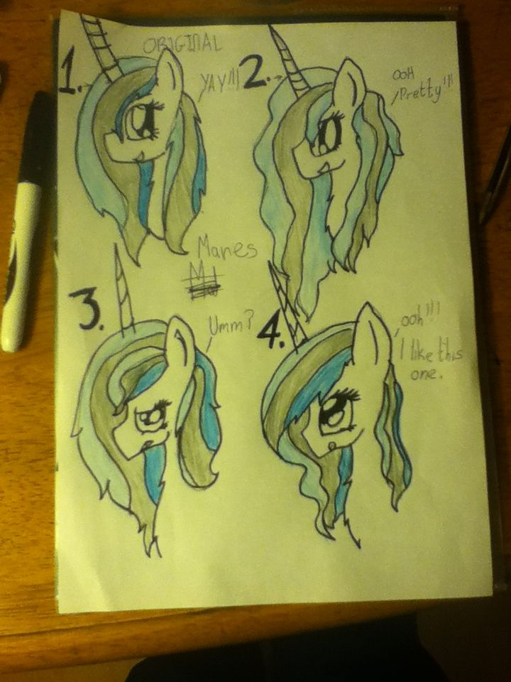CAN I HAVE YOUR ATTENTION EVERYPONY!!!.We will have a vote on which mane style Lily will have.1.Is her original mane style(which she adores).2.is a beautiful wavy mane styles(which she loves).3.is a style that she is'nt sure of and.4.is a pretty short wavy mane(which she also loves PLEASE COMMENT.after i will count the voted