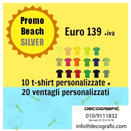 #Promobeach SILVER su #tshirt e #ventagli personalizzati con il tuo logo. Offerta valida fino alle ore 18 del 2 luglio 2014. Per ordini: www.decografic.com/contatti.html