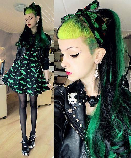 Lolita Gothique, Originaux, Mode Japonaise, Psychobilly, Cheveux Verts,  Coupes De Cheveux, Tenue, Style