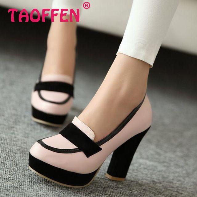 Para mujer zapatos de tacón alto mujeres sexy vestido calzado dama de moda para mujer de la marca bombas P13025 venta EUR caliente 34-43