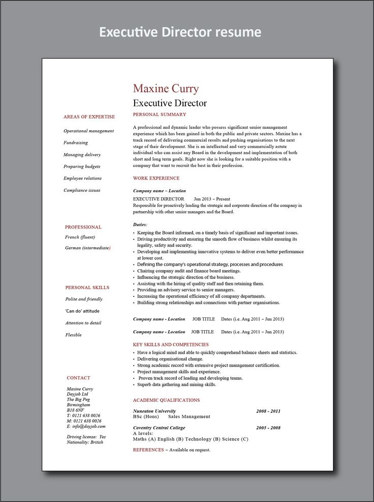 Executive director resume Project manager resume, Office
