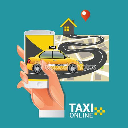 Vector illustration of a taxi service concept. Smartphone and touchscreen — Stock Vector © kupritz #123015998