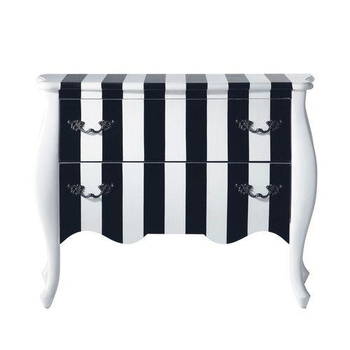 Commode à rayures en bois noire et blanche L 100 cm