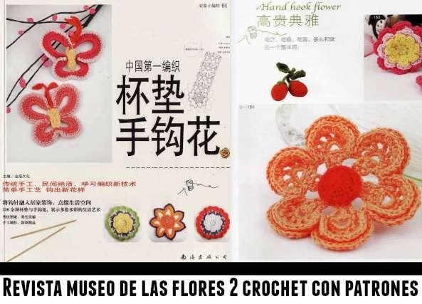 revista con flores y patrones a crochet