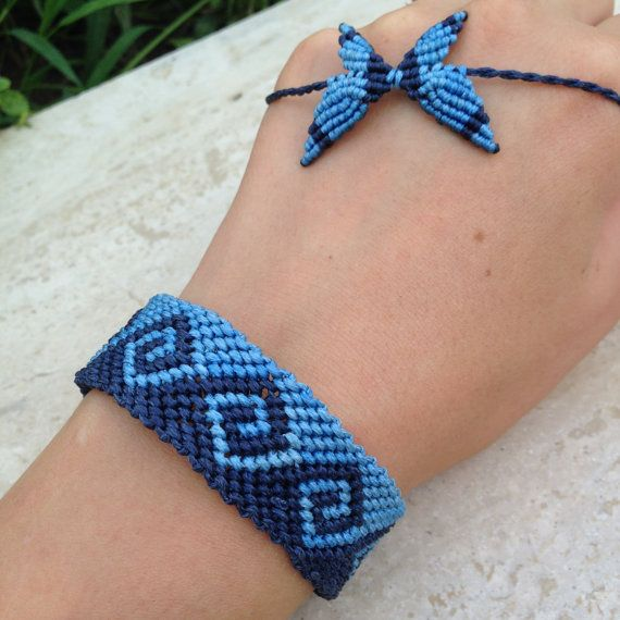 Bracciale onda infinita macrame braccialetto Mens Bracciale amicizia bracciale sfumature blu uomo presente per un uomo