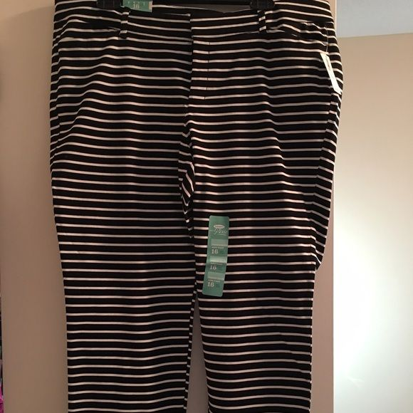 """NWT Old Navy Pixie Ankle Length pants. NWT """"Pixie"""" ankle length pant from Old Navy. Size 16. Black with white horizontal stripe. Old Navy Pants Ankle & Cropped"""