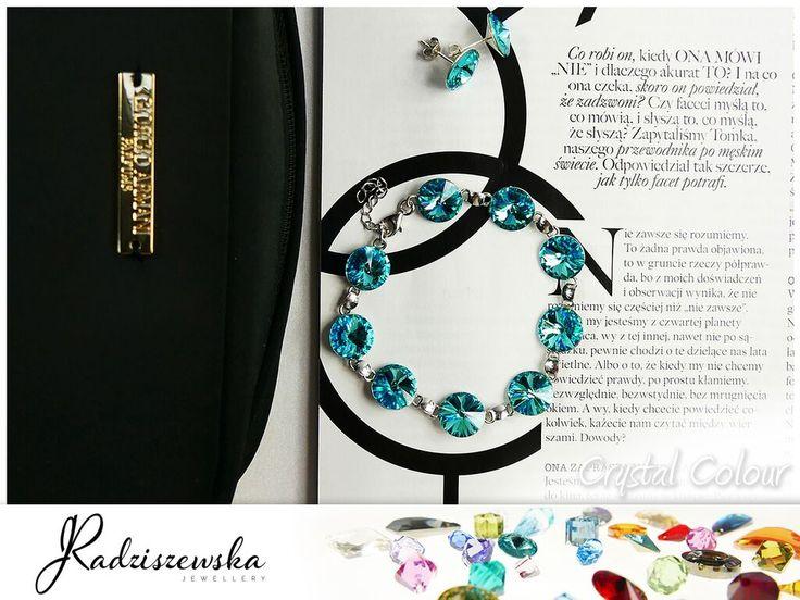 Delikatna bransoletka z subtelnym, jasnoniebieskimi kryształem Swarovskiego, dla wielbicielek delikatnego, niezobowiązującego szyku.