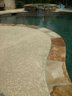 Image result for fiberglass pool with flagstone coping and kool deck