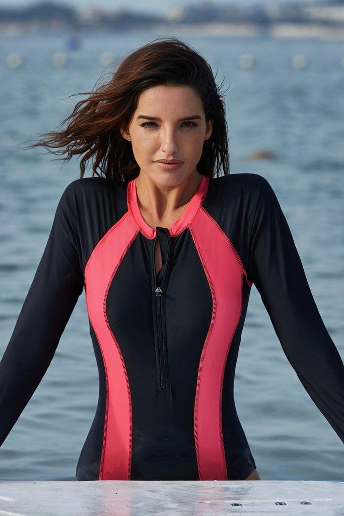 3fb5fb1ef9c Misses Font Zipper Long Sleeve Pink Hourglass Swim Wear Rash Guard One-Piece  Swimsuit in 2019 | KaleaBoutique.com Favorites | Swimsuits, Swimwear, ...