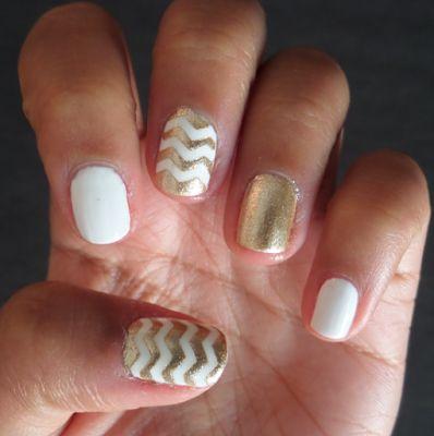 White and Gold Chevron Nails