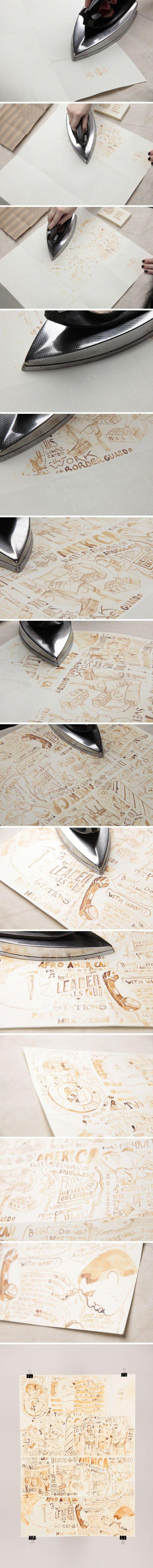 Dit is wel heel gaaf, met melk op papier tekenen, 30 min laten drogen en dan strijken