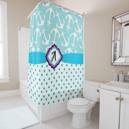 Cute Aqua and White Nautical Monogram Shower Curtain - monogram gifts unique design style monogrammed diy cyo customize