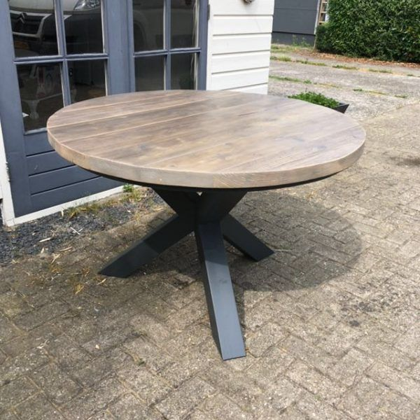 Steigerhouten tafel rond