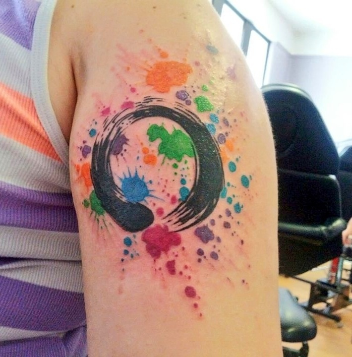 My newest tattoo! Zen enso symbol w/paint splatter background! Love!!!
