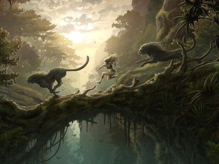 imágenes, fondos de pantalla chica de la selva, salto de vector, leones fondos, material de puente