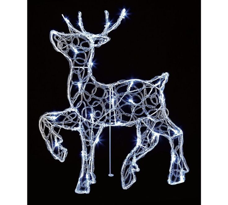 Christmas Outdoor Decoration - 56cms Acrylic Standing white LED Reindeer