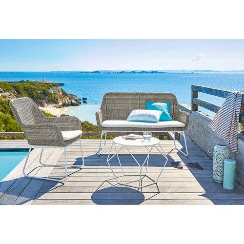 Gartensessel aus geflochtenem Kunstharz in Grau  mit weißen Kissen Punta Cana | Maisons du Monde