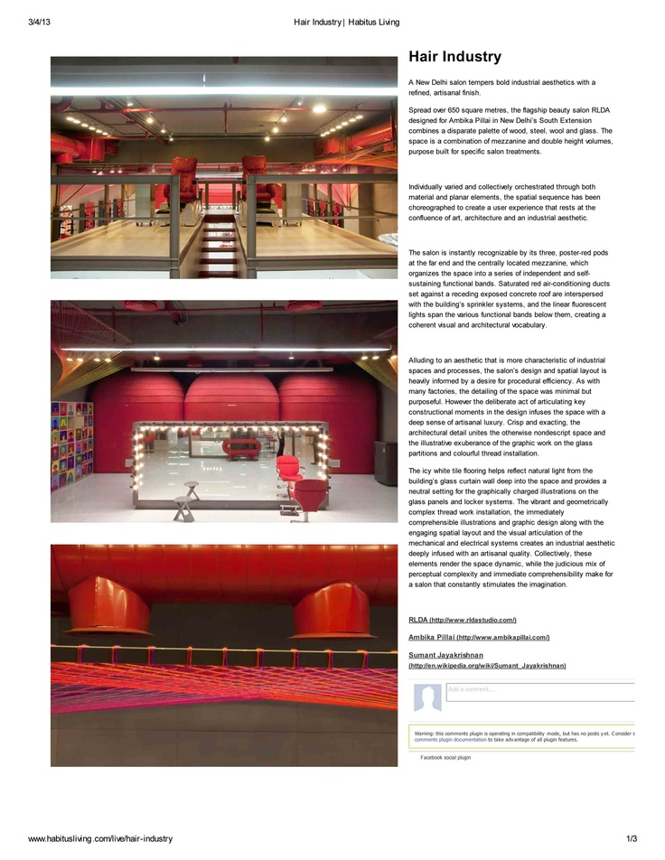 RLDA's project of a salon get featured in Habitusliving (Australia).