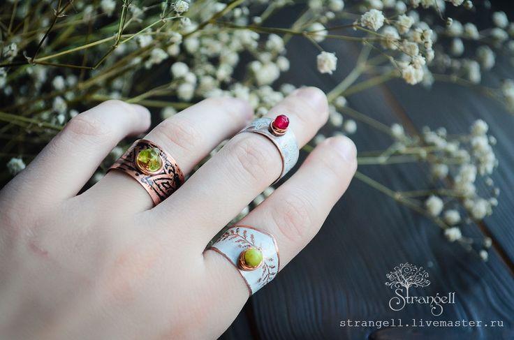 Купить Бохо кольца Медные, белые черные кольца тонкие и широкие с узором