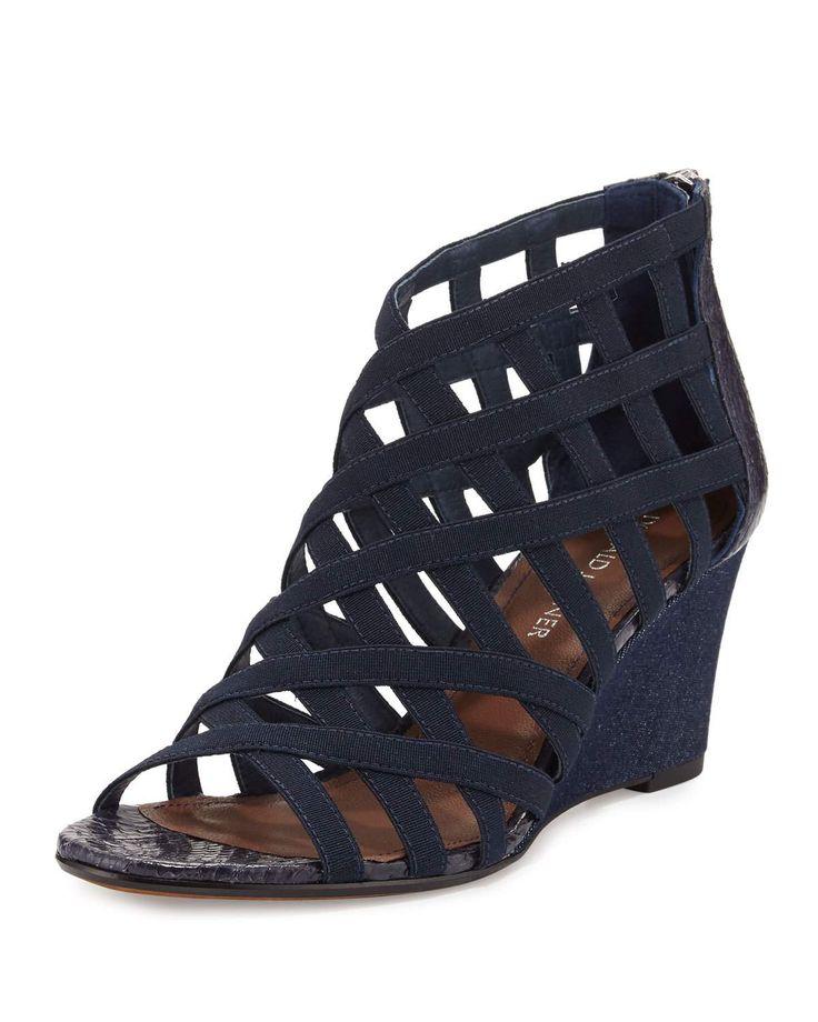 "Donald J Pliner elastic crepe and snakeskin sandal. 2.5"" denim wedge heel. Open toe. Caged vamp. Back zip eases dress. Padded footbed. Leather outsole. ""Jorda"" is imported."