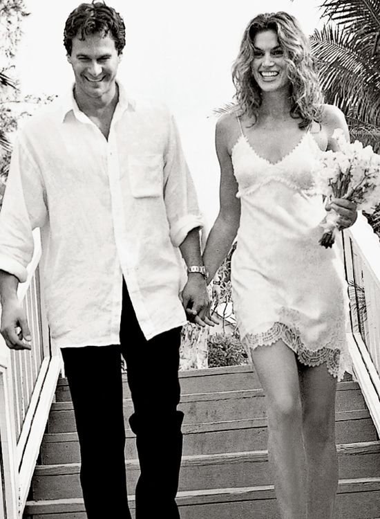 A photograph taken by Arthur Elgort in May 1998 of Cindy Crawford and her husband Rande Gerber on Paradise Island in the Bahamas