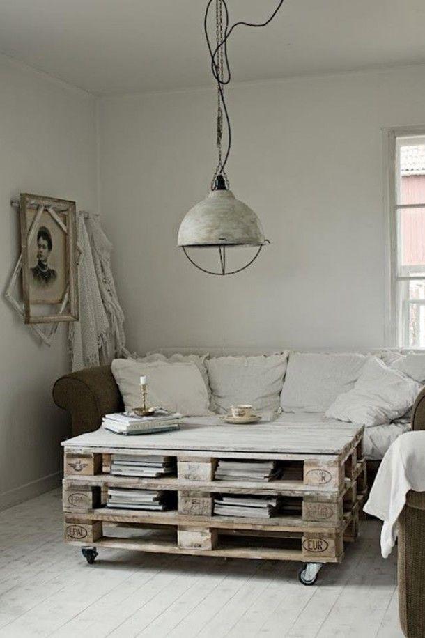 living - pallets - table - tafel - interieur