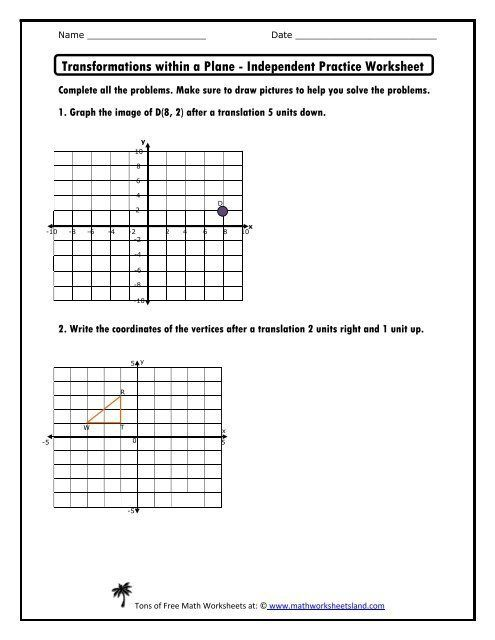 30 Transformations Math Worksheets In 2020 Free Printable Math Worksheets Worksheets Math Worksheet