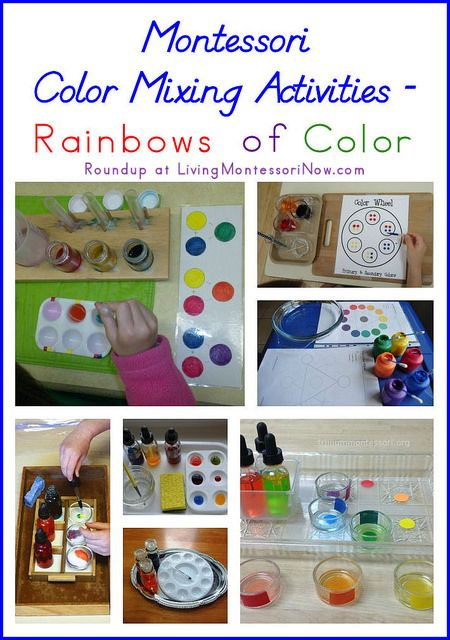 Roundup post with lots of ideas, resources, and presentations for Montessori color mixing activities.