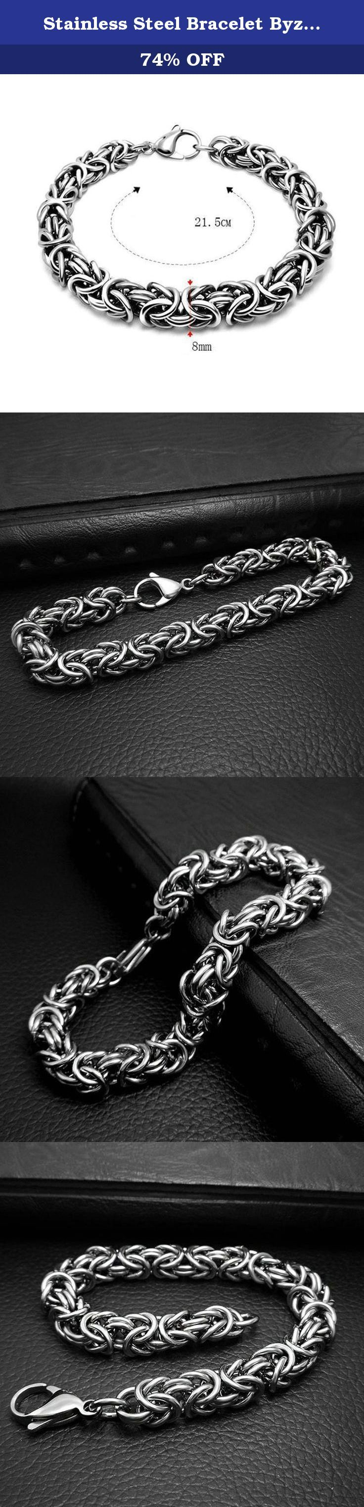 Stainless Steel Bracelet Byzantine Chain Length 21.5 CM Width 0.8 CM - Adisaer Jewelry. This bracelet is a perfect gift for a man. This bracelet is made of durable highly polished 100% stainless steel. Give it to your loved one, or treat yourself for a trendy bracelet style. The bracelet features a modern design showcasing a silver-tone byzantine chain and simple yet classic style. A large lobster claw type of a clasp allows to lock the bracelet securely around your wrist. This bracelet…