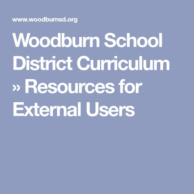 Woodburn School District Curriculum  » Resources for External Users