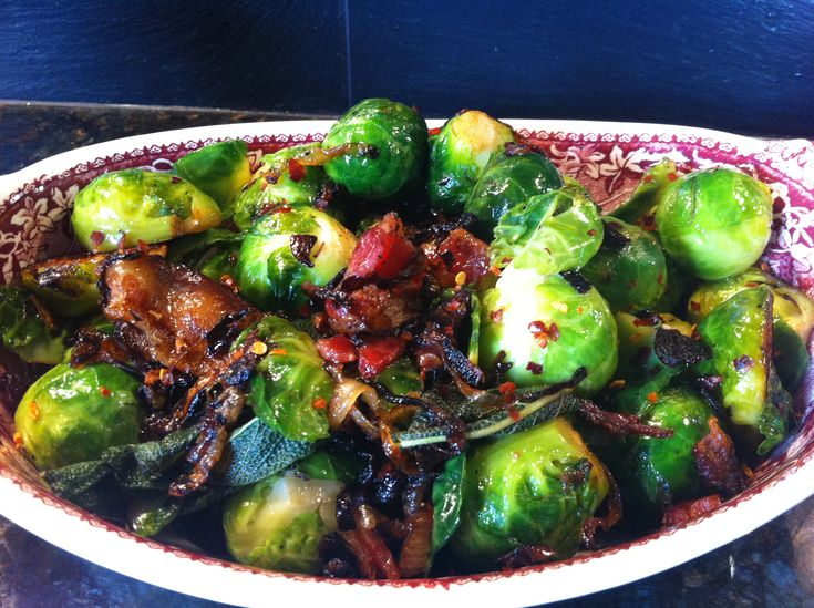 Bacon, onion and bussel sprouts!! SO GOOD - my dad has a recipie like this and it is so yummy!!!
