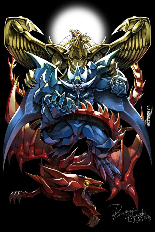 Yugioh Egyptian gods they look amazing in this pic these monsters will always be on top.