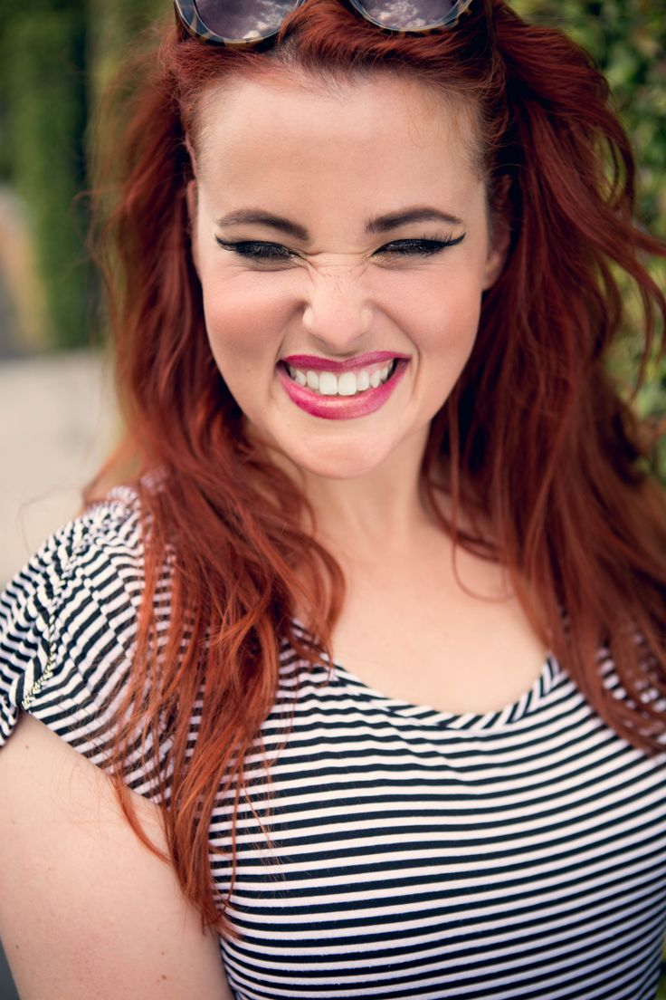 Such a funny girl Sara Ksenia Belova Photography #portrait #actress #redhead #redhair #smile #stripes