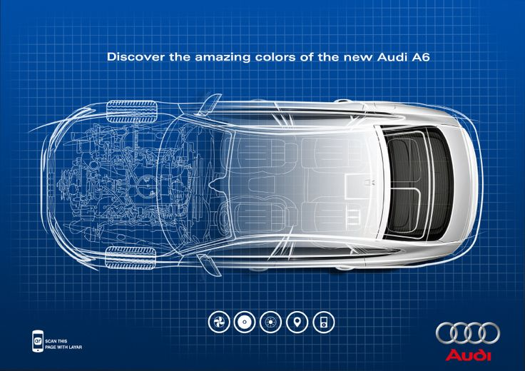 This trigger image, created by Layar's visual designer and finalised by myself was to demonstrate some of the new 3D features achievable with the Layar App. Scanning the page reveals an interactive 3D model of the Audi A6.