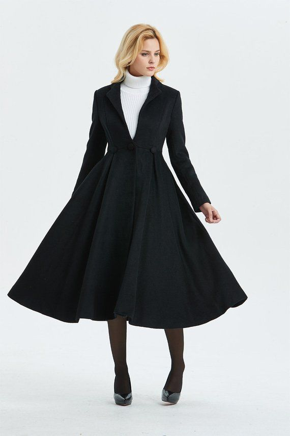 f14747f5847 Long wool coat, black wool coat, fit and flare coat, cute coat, winter coat,  womens coat, elegant co