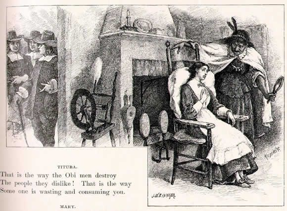 Tituba and Mary Warren illustration by John W. Ehninger, published in The Poetical Works of Longfellow, circa 1902. #salemwitchtrials